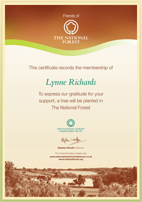 Example Certificate for becoming a Friend of The National Forest
